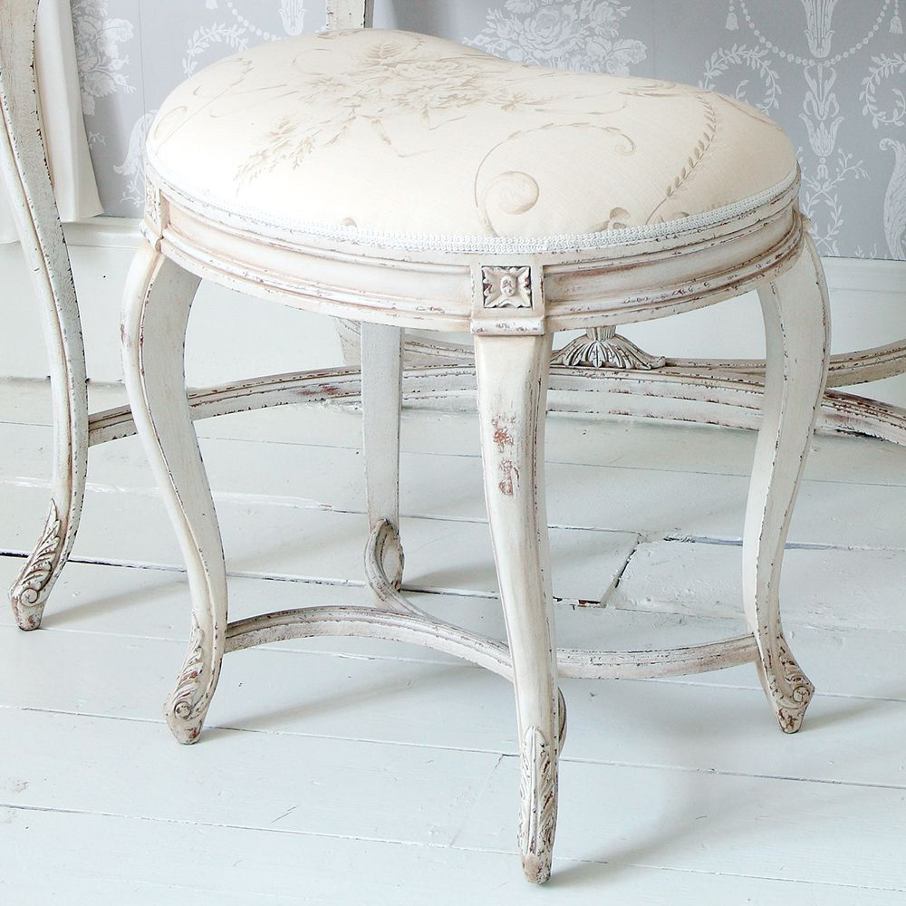 Delphine Distressed White Painted Stool | Stools in 2019 ...