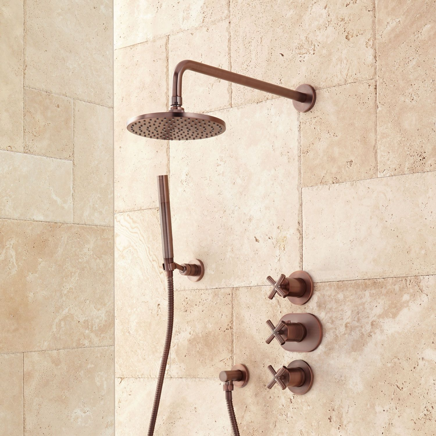 Exira Thermostatic Shower System With Rainfall Shower And Hand
