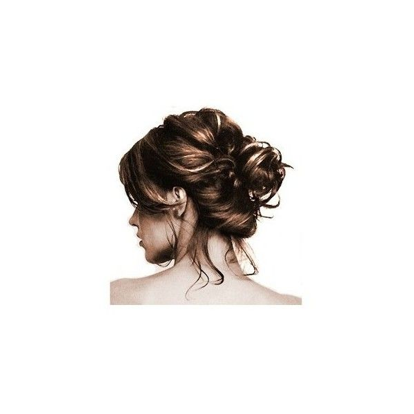 Loose Messy Bun Brown ❤ liked on Polyvore