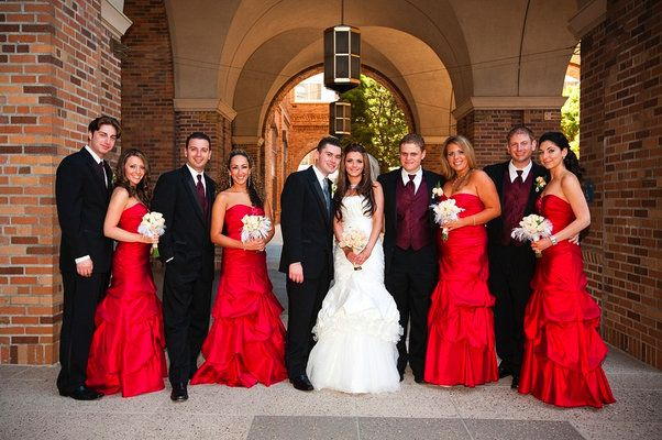 black and white bridal party looks | bridal party wonderful red ...