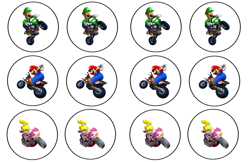 Crayons And Checkbooks Mario Kart Wii Cupcake Toppers Mario