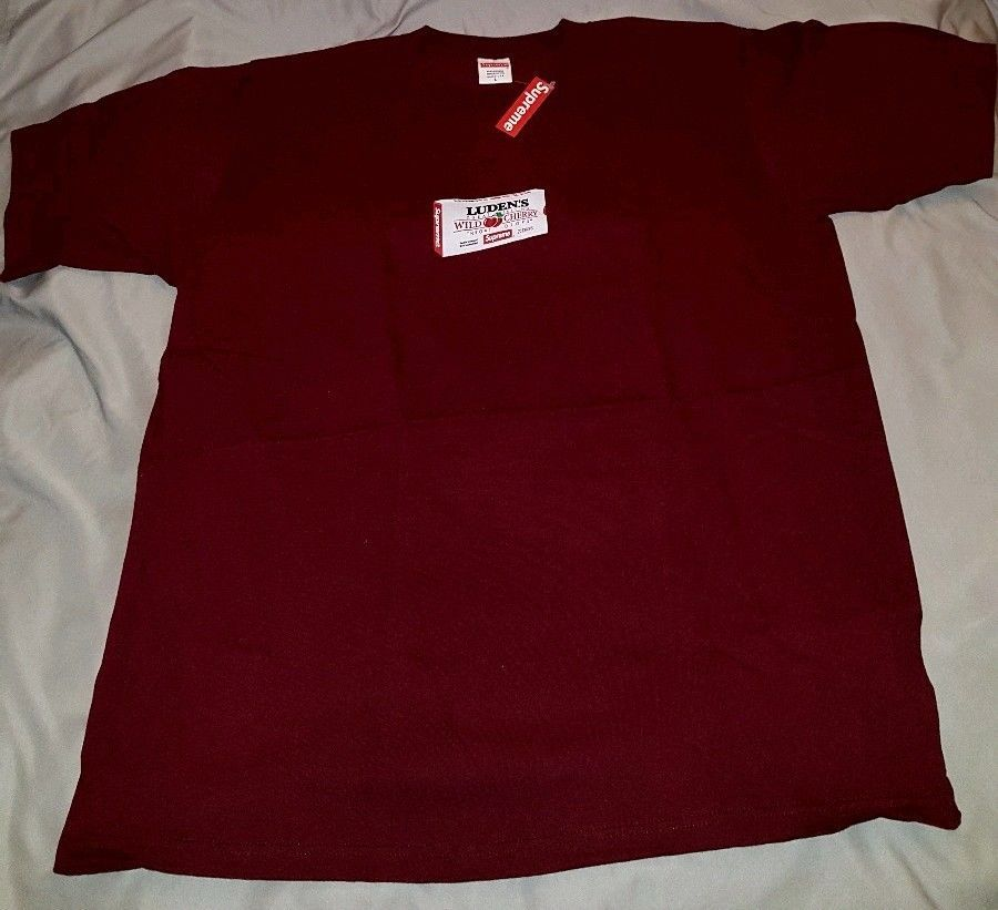 1c78ef0ef195 Supreme Ludens Throat Drops tee Burgundy L Large FW18 In Hand w/box of  Ludens #Supreme #GraphicTee