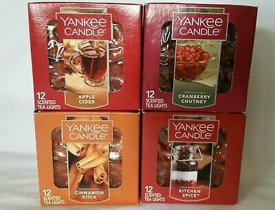 Lot of 4 Yankee Candle Tea Light Candles Apple Cider Cinnamon Cranberry Spice (ebay link)