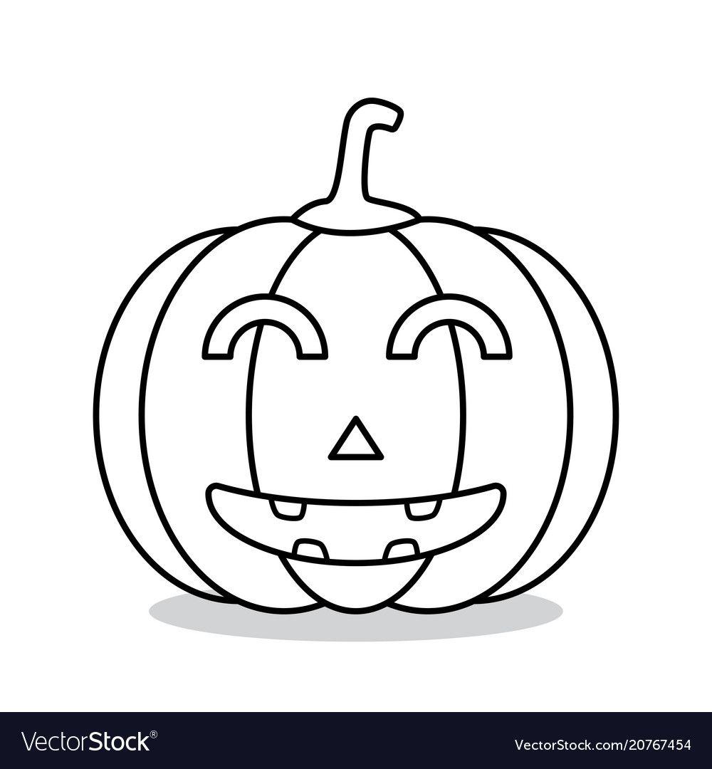 Outline halloween pumpkin. Vector Illustration. Download a