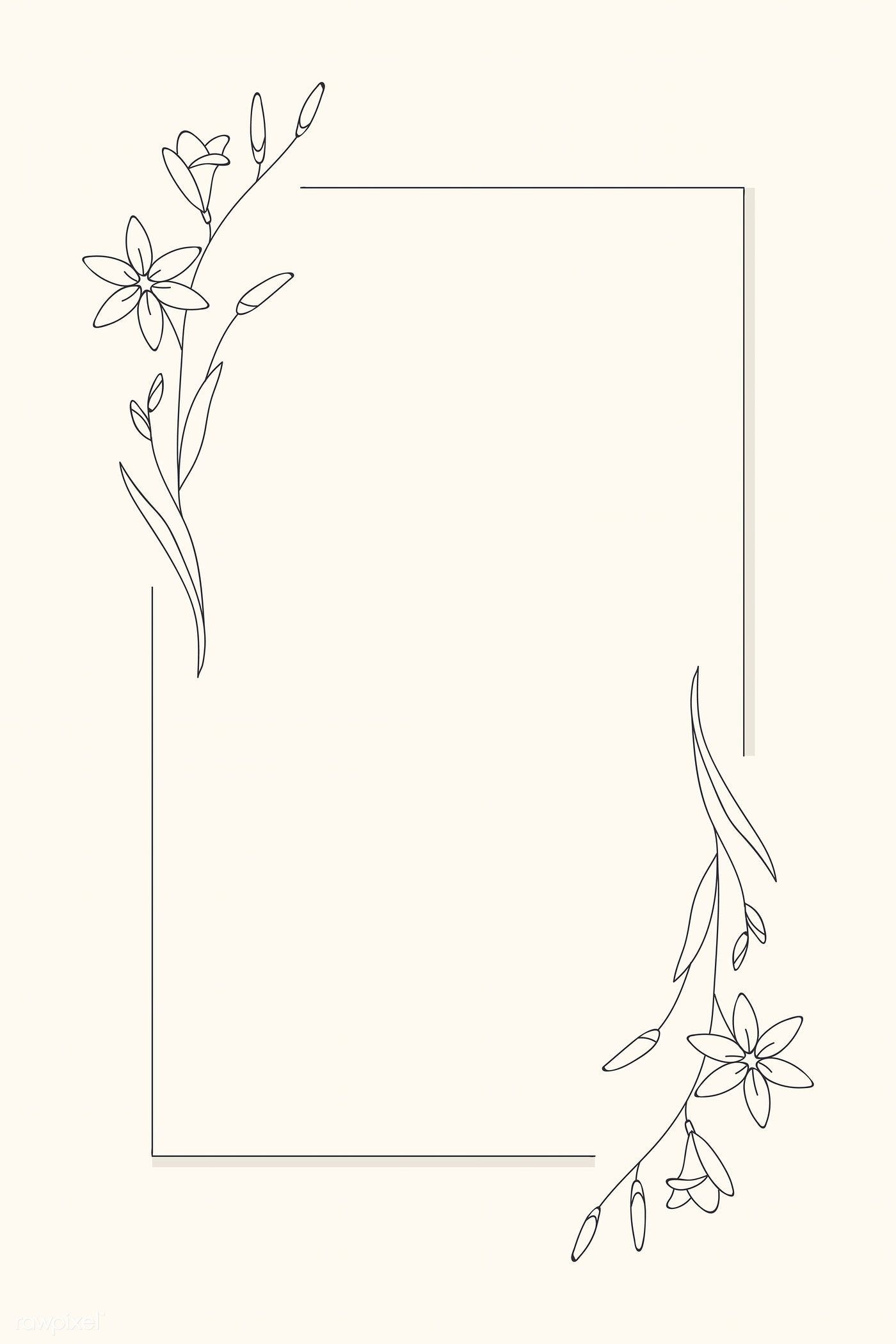 Download Premium Vector Of Hand Drawn Flower Frame Background Vector 935429 In 2020 How To Draw Hands Flower Drawing Hand Drawn Flowers