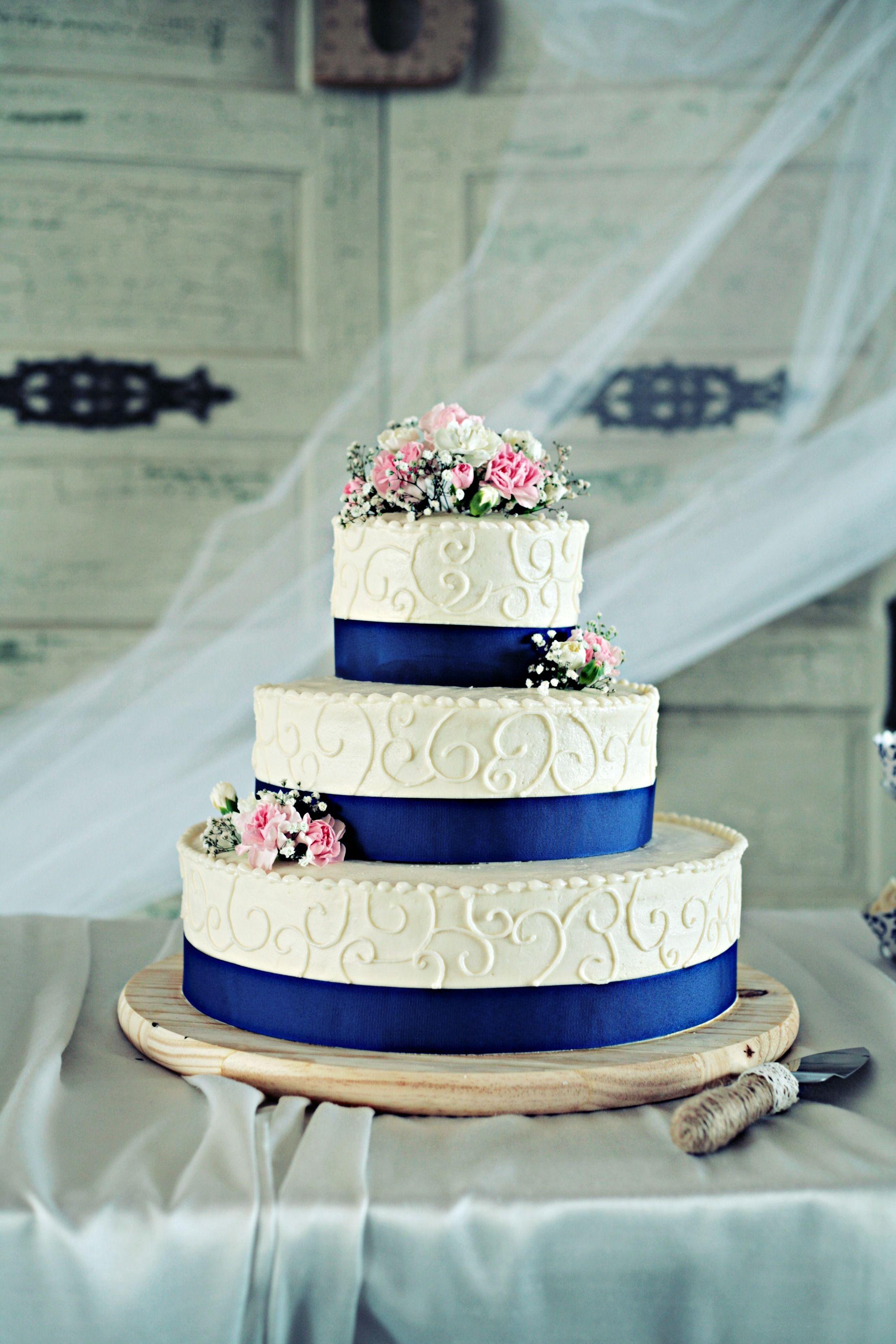 Wedding Cake Blue Royal Blue Pink Flowers Country Wedding