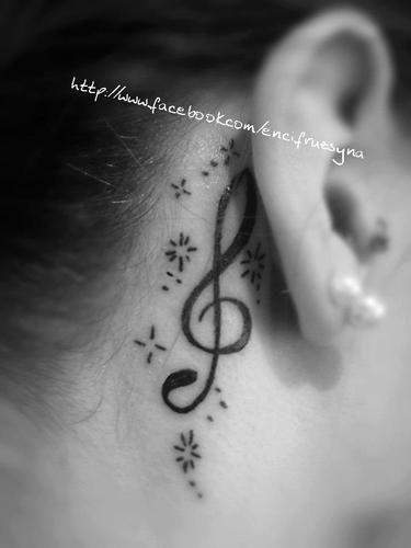 Tatuaje De Nota Musical Detras De La Oreja Tatuajesparati