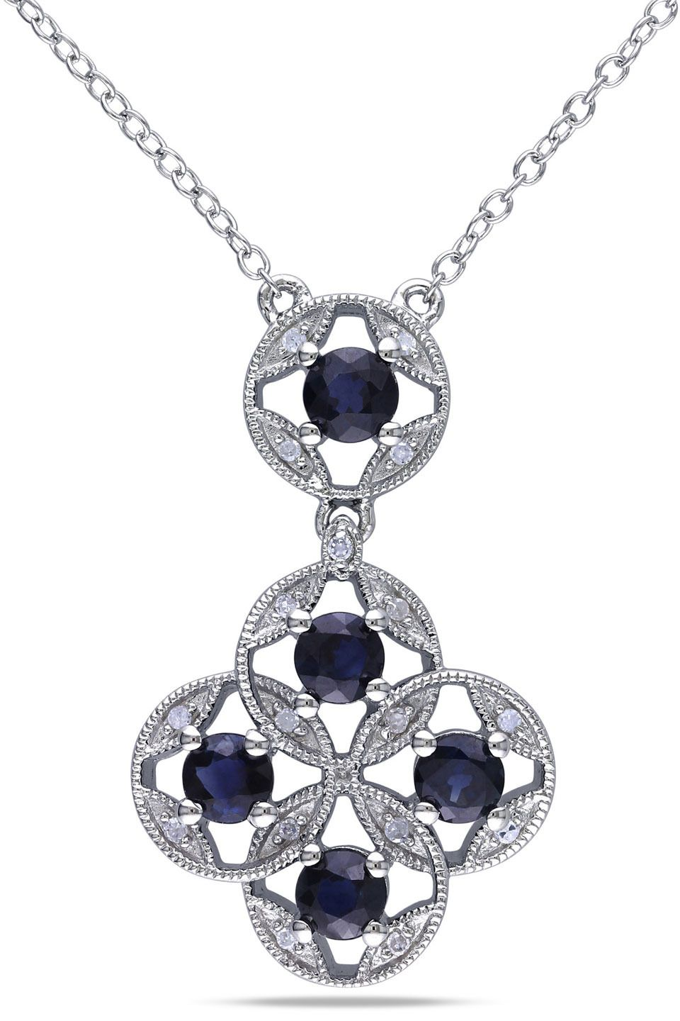Vintage Inspired 1 3 8 Ct Sapphire And 1 10 Ct Diamond Silver Pendant Beyond The Rack Jewelry Sterling Silver Pendants Sterling Silver Necklace Pendants