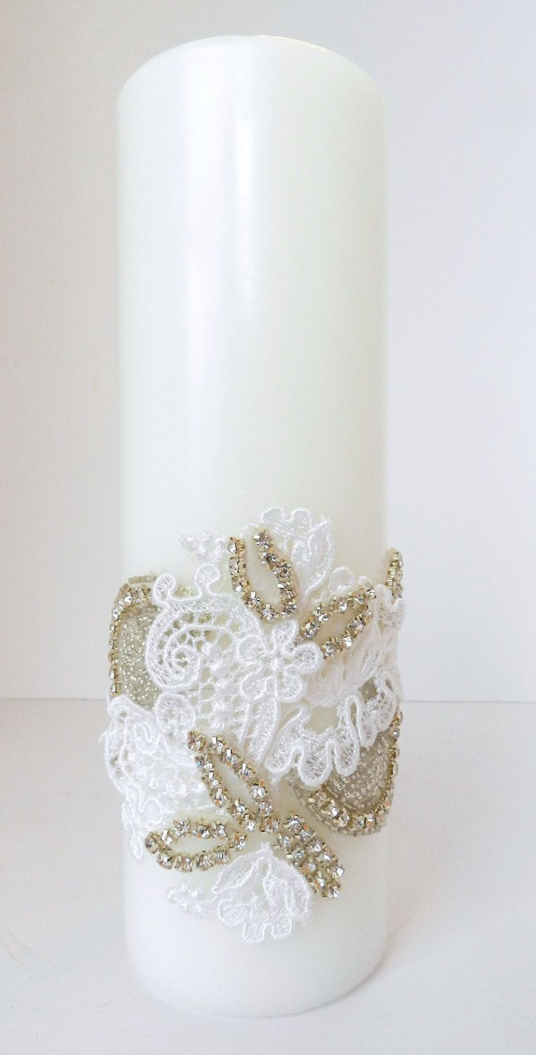 Mixed Media Unity Candle with Lace and by simplybridal1 on Etsy, $95.00