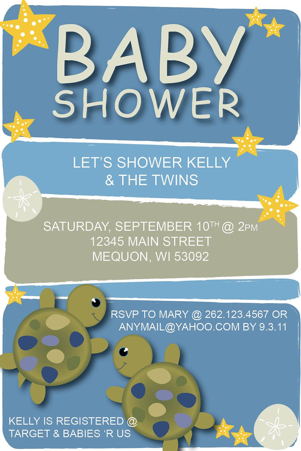 Under the Sea Turtle Baby Shower Invitation by CollideStudio | Party ...