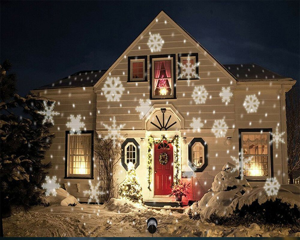 Led Christmas Light Moving White Snowflake Spotlight 4w Led Landscape Projector Lamp Light For Holiday Christmas Tree Garden Patio Stage House Decoration Walm In 2020 Christmas House Lights Outdoor Xmas