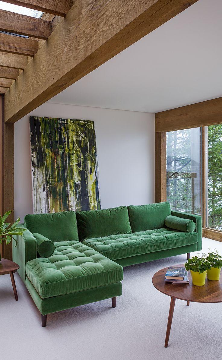 Midcentury Style ideias de decoração de sofás e chaises | green sofa, living rooms