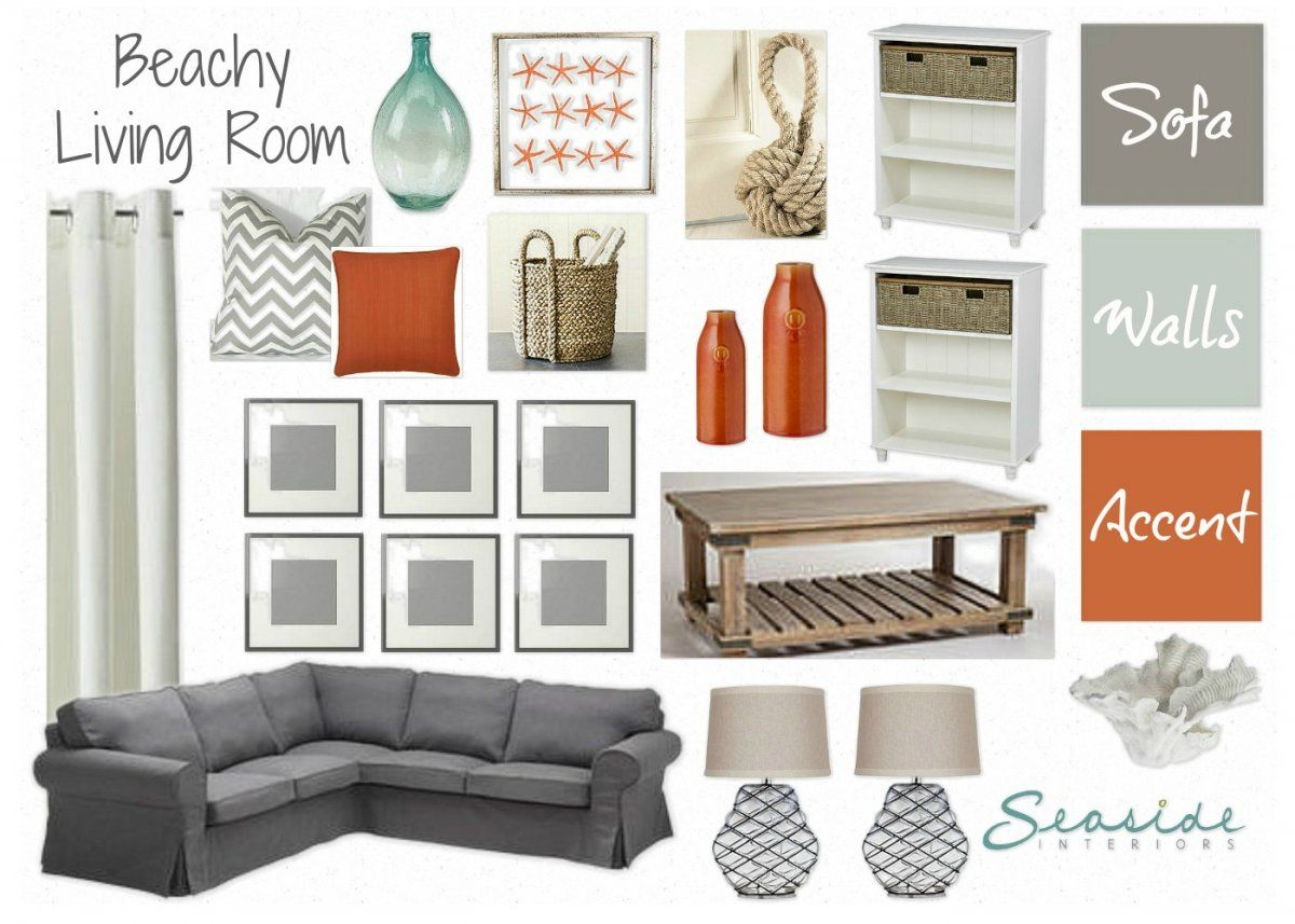 seaside interiors decor beachy living room with greys and orange