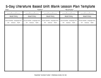 Day Literature Based Unit Blank Lesson Plan Template  Blank