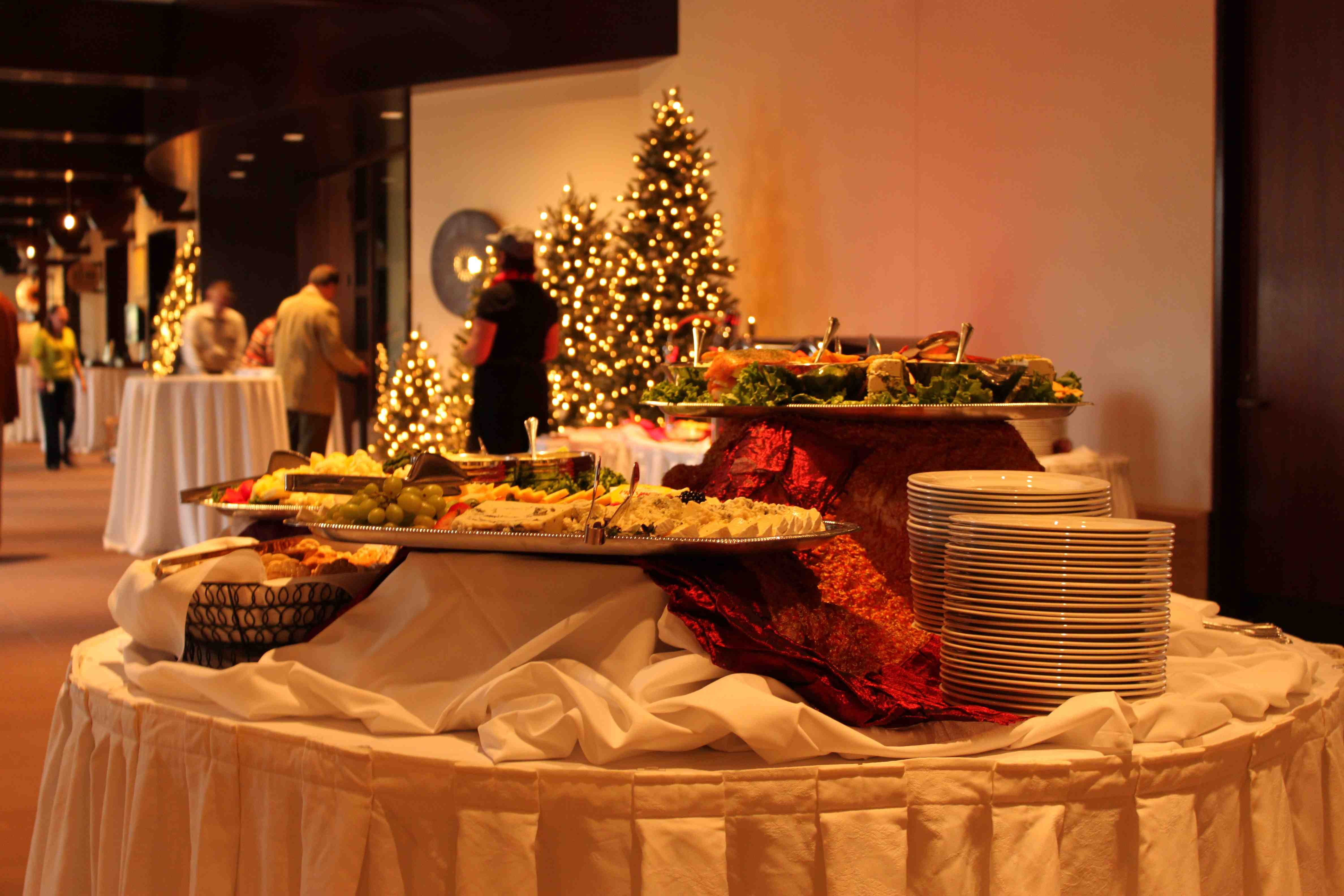 A Holiday party food station setup by Kahn's Catering, the