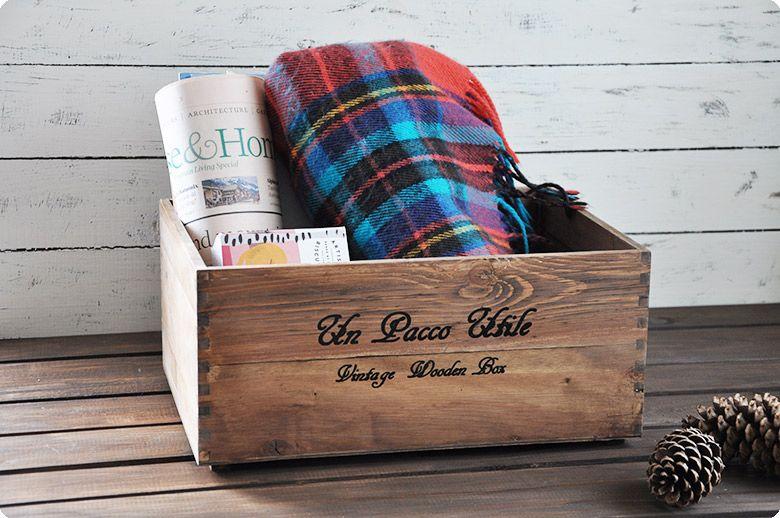 【送料無料】収納木箱『アンティーク風ウッドボックス』2個セットポテトボックス木製箱/雑誌の整理本棚什器インテリアシェルフ通販