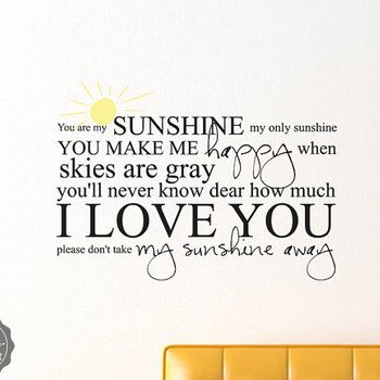 Superbe You Are My Sunshine My Only Sunshine With Sun Sticky Vinyl Wall Accent Art  Words Stickers Decals 1474