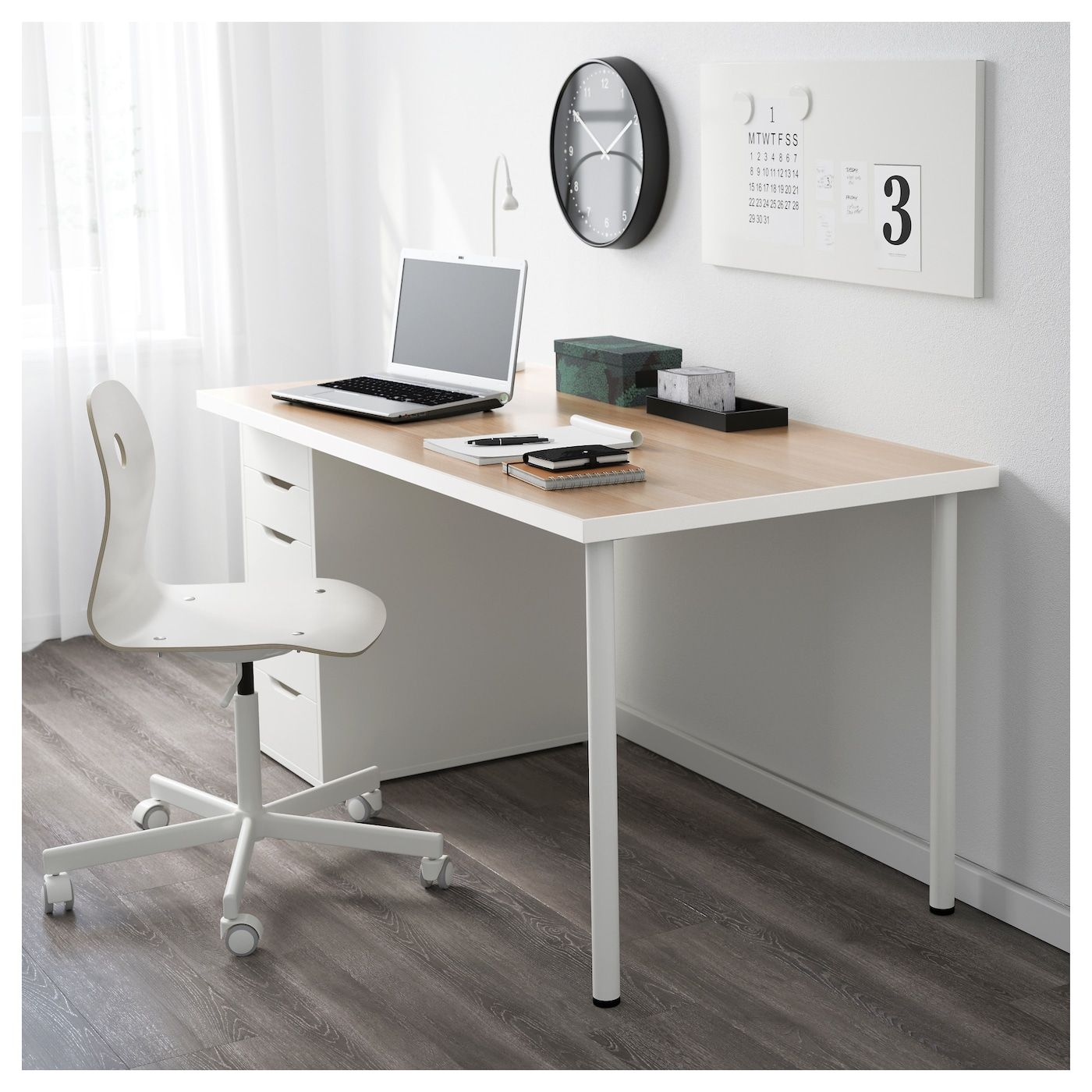 Linnmon Alex Table White White Stained Oak Effect White 59x29 1 2 Ikea Ikea Table Hack Ikea Home Office Furniture