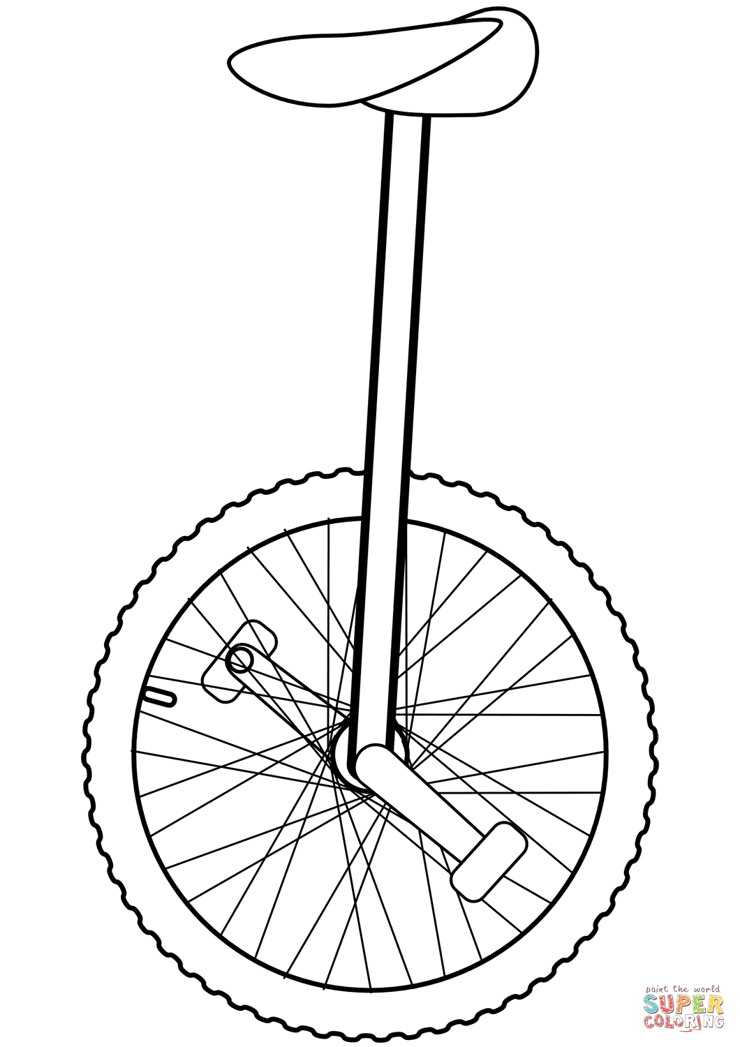 Unicycle Coloring Page From Bicycles Category Select From Printable Crafts Of Cartoons