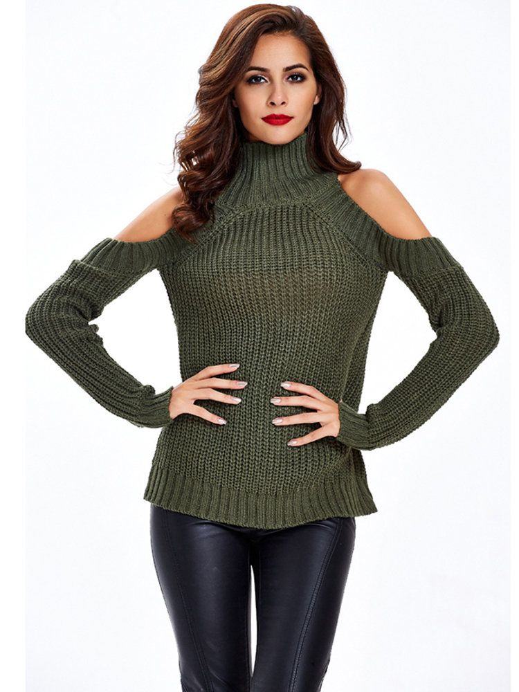 Trendy Women Casual Off-shoulder Stand Collar Long Sleeve Sweater - NewChic