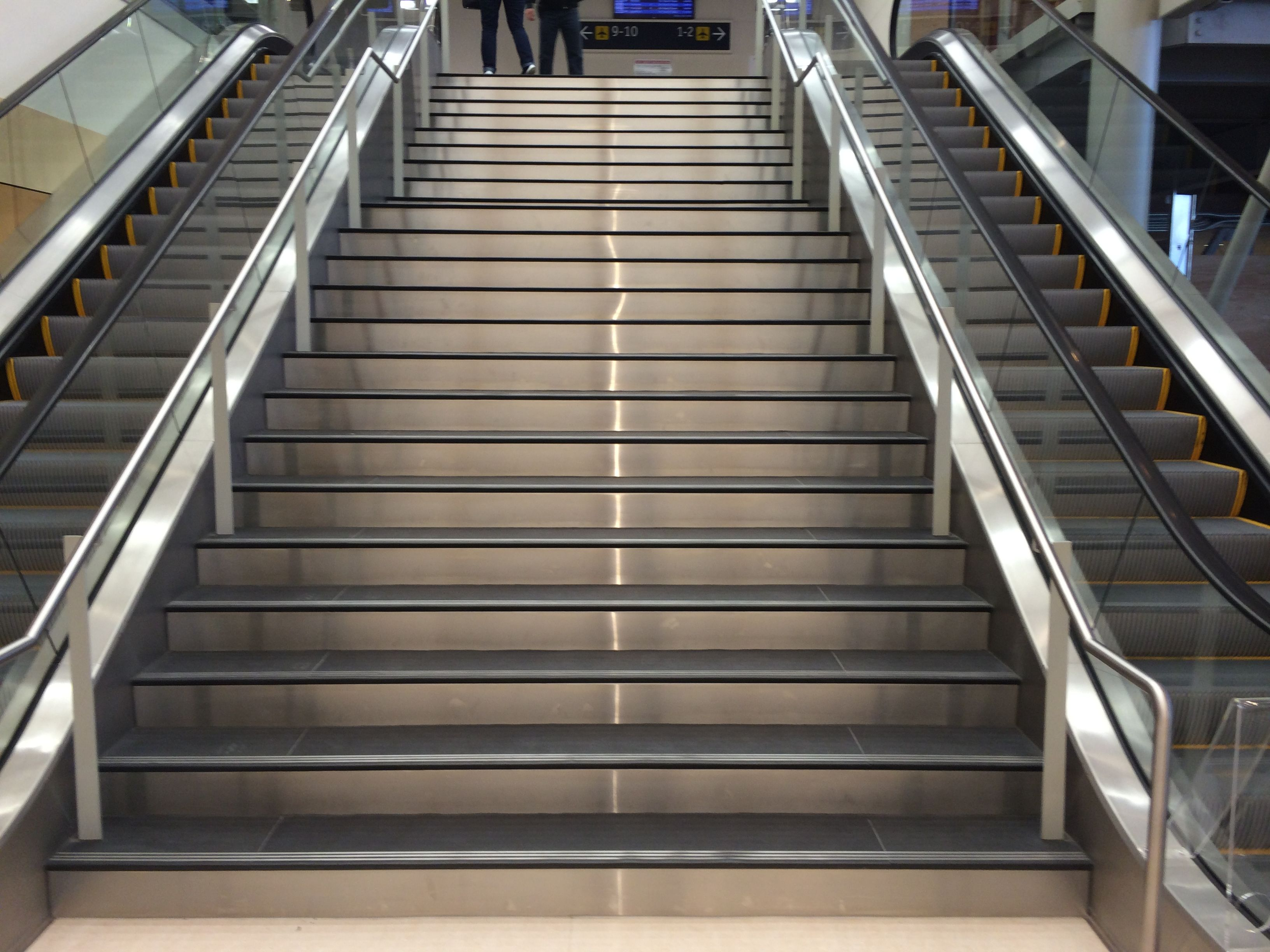 Stair Treads In Black Slate Installed At The Victoria Airport In Victoria,  BC