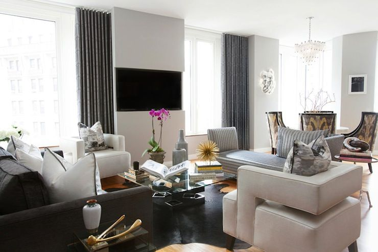 Source Carlyle Designs Contemporary Open Floor Plan With Sette Separating Living Room And Dining Built In Flatscreen TV Wall Nook Flanked By Blue