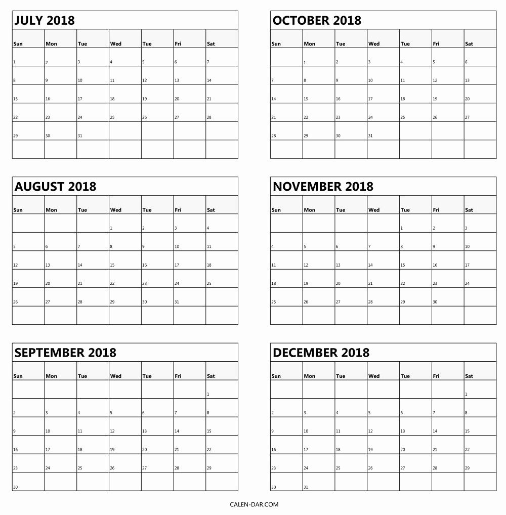 Printable Calendar 6 Months Per Page
