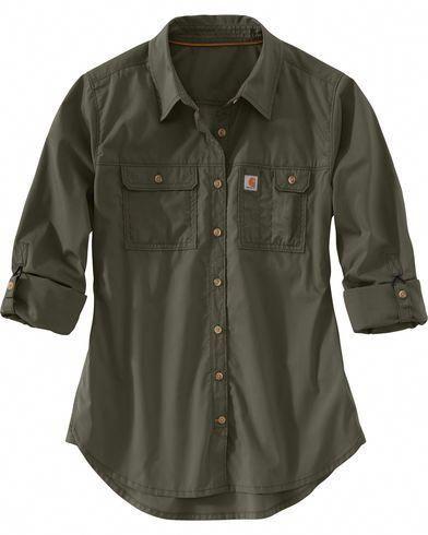 Carhartt Women's Force Ridgefield Shirt , Olive #carharttwomen