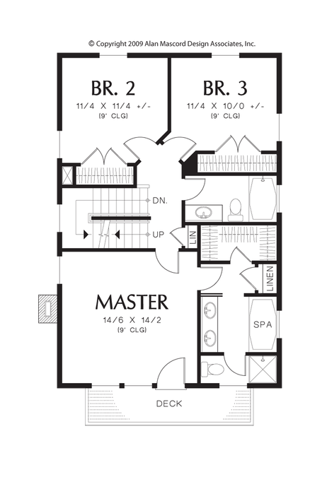 Upper Floor Plan Image For Mascord Hadaway Charming Home Design For The Coast Or Compact Lot Upper Floor Plan House Plans Colonial House Plans New House Plans