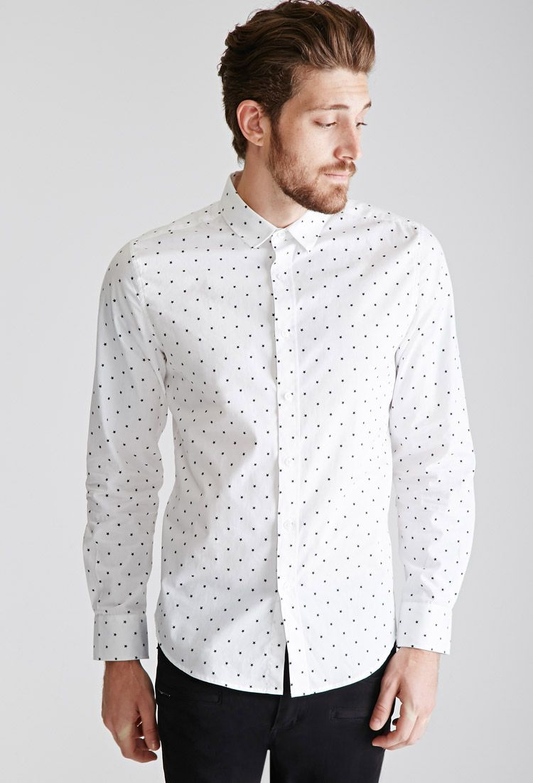 Star-Printed Collared Shirt | 21 MEN - 2000101235 | shirts and ...