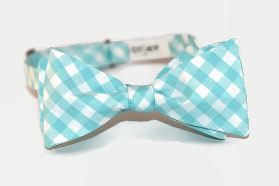 turquoise gingham freestyle bow tie on Etsy, $25.00