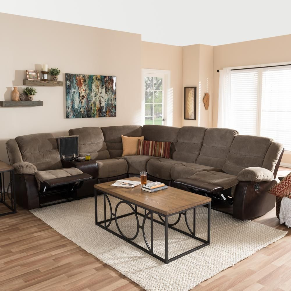Baxton Studio Robinson 4 Piece Contemporary Taupe Fabric Upholstered L Shaped Sectional Sofa 28862 7130 Hd The Home Depot In 2020 Reclining Sectional Sectional Sofa Brown Living Room