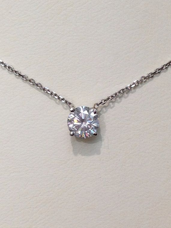 Handmade Diamond Solitaire Necklace In 14k Gold Solitaire
