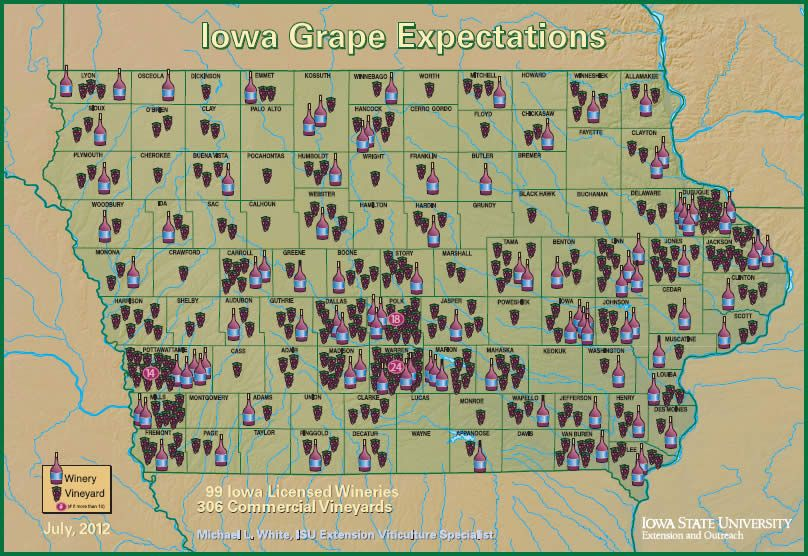 wineries in iowa map There Are 99 Licensed Wineries And 306 Commercial Vineyards In wineries in iowa map
