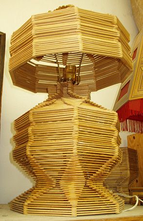 Wonderful old tramp art  lamp made out of popsicle  sticks. $95 SOLD