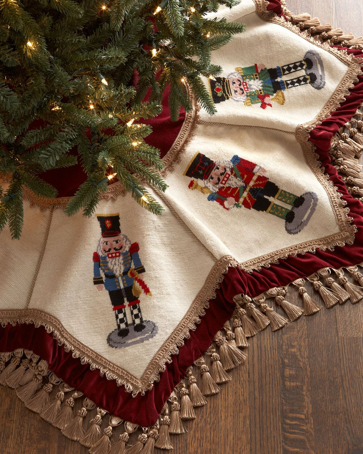 Peking Handicraft Nutcrackers Tasseled Christmas Tree Skirt Nutcracker Christmas Tree Christmas Tree Skirt Nutcracker Christmas