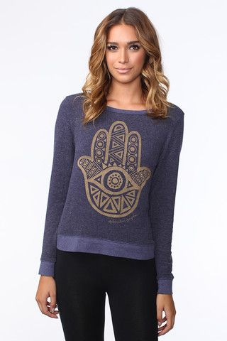 hamsa eye savasana pullover midnight  spiritual gangster
