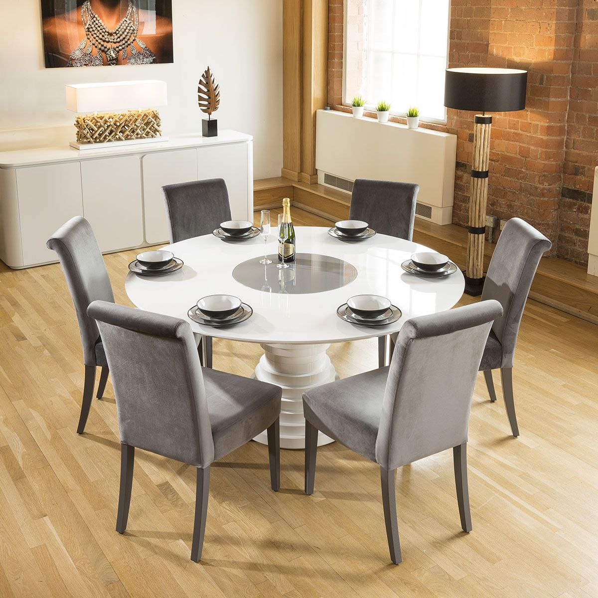 Huge Round White Gloss Dining Table Grey Lazy Susan 6 High Back