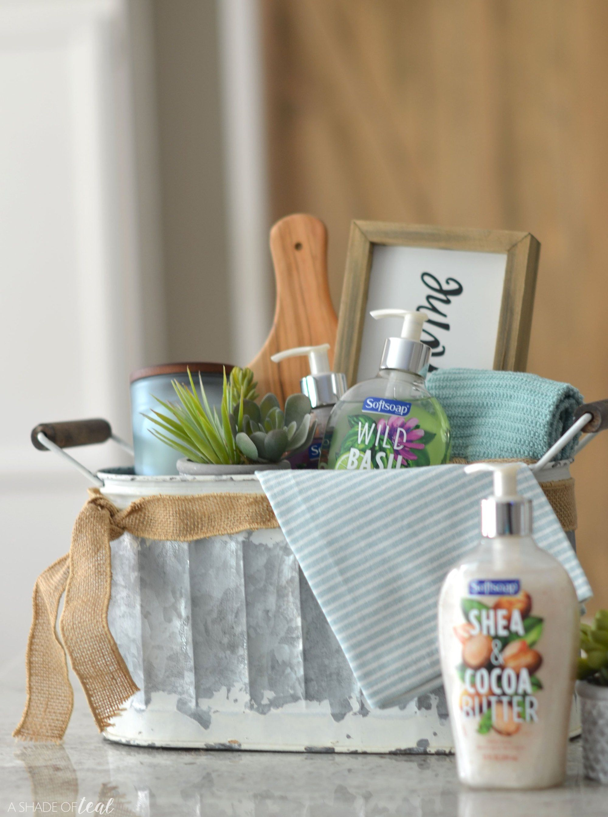 Easy housewarming gift basket with images