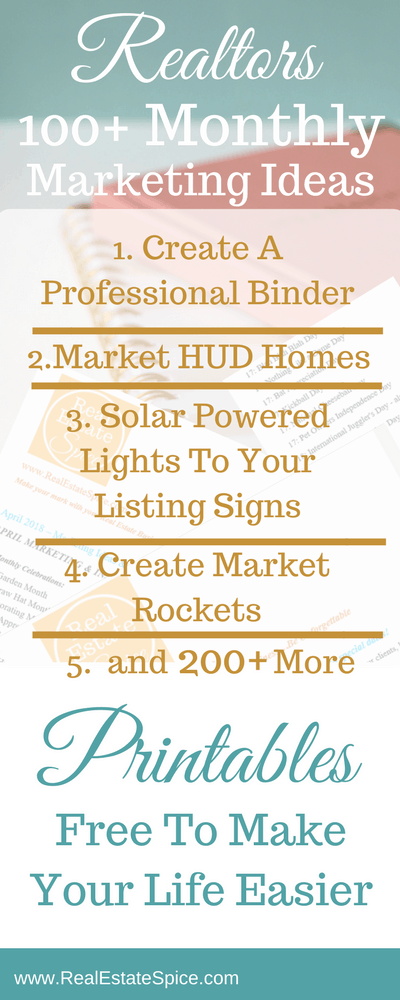 Monthly Real Estate Marketing Ideas. GET YOUR PDF HERE