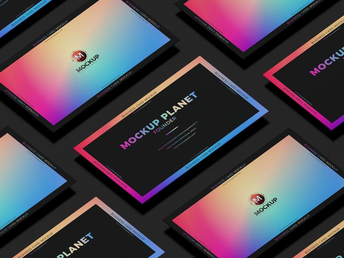 Grid Business Card Free Psd Mockup Design Business Card Mock Up Free Business Cards Mockup Design