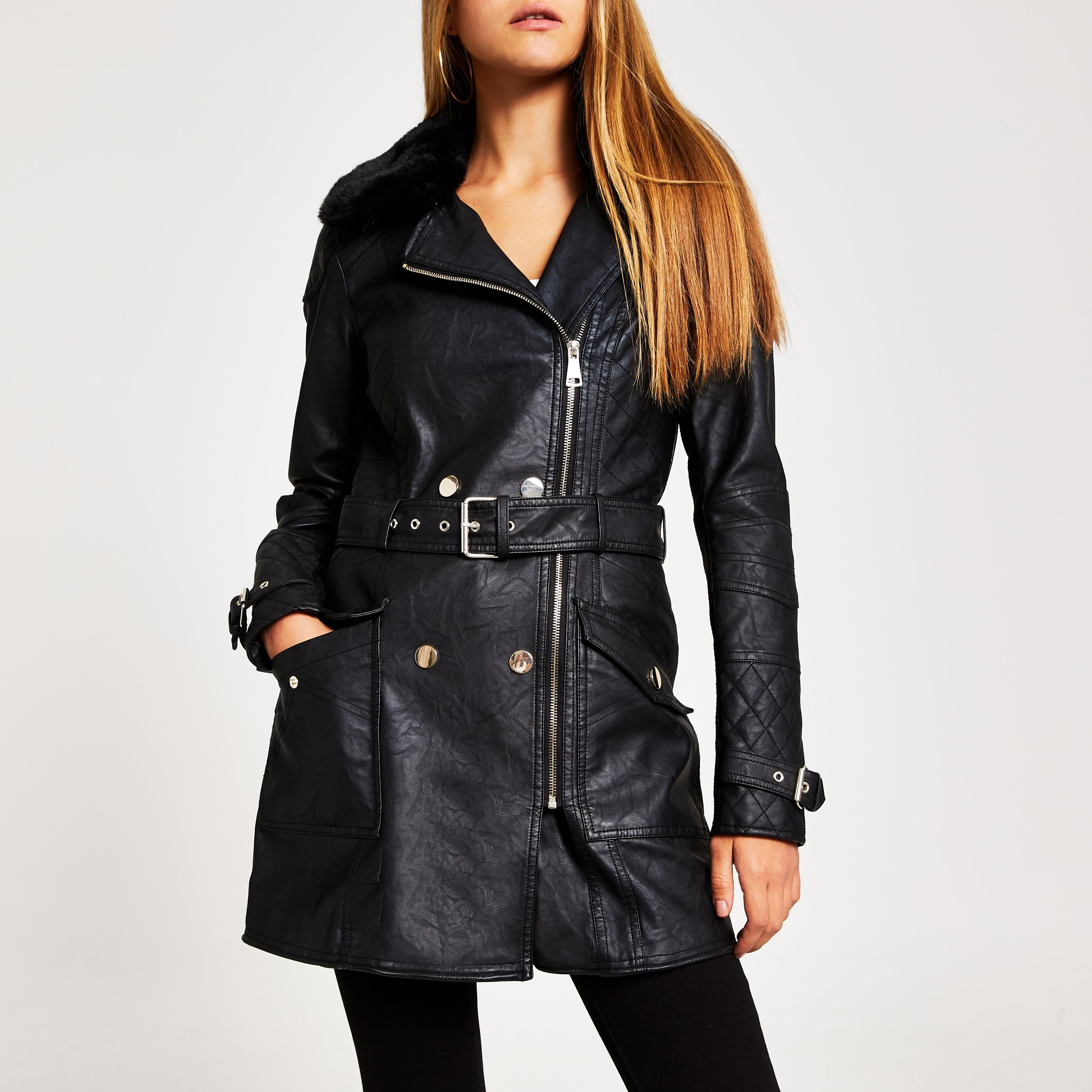 River Island Womens Black faux leather longline belted