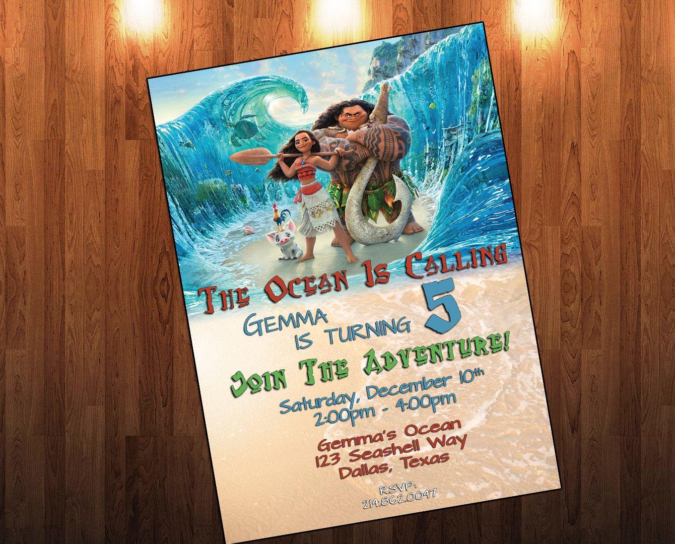 Moana Birthday Invitations Disney Party Invitation