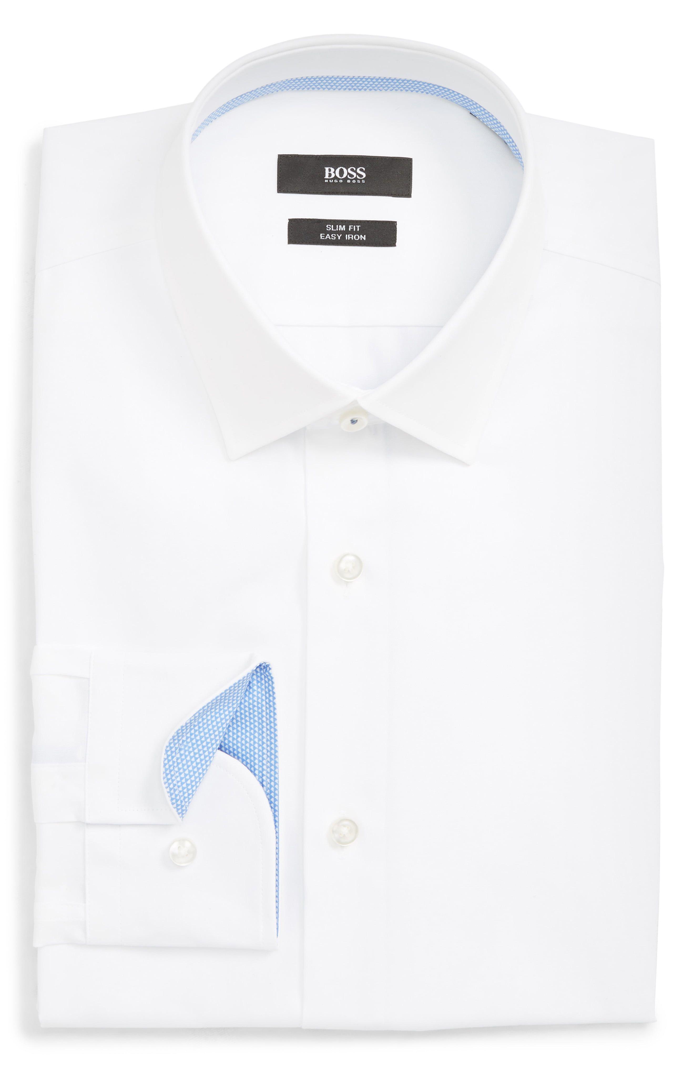 1fdbd3b03 Men's Boss Jenno Slim Fit Easy Iron Solid Dress Shirt, Size 15.5 - White
