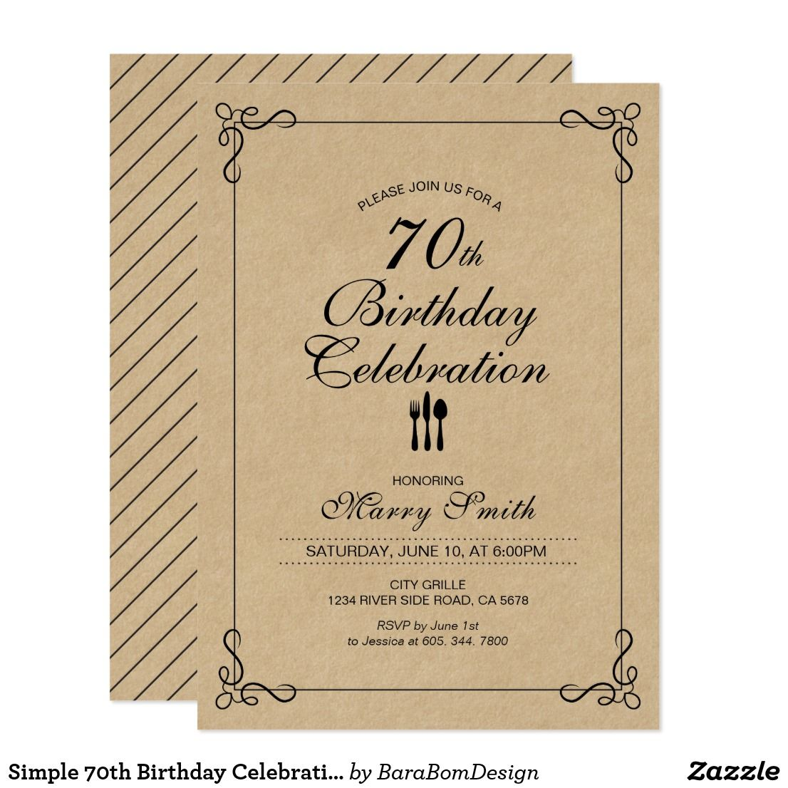 Simple 70th Birthday Celebration Party Invitation | Party ...