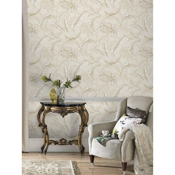 Julien Macdonald Guilded Feather Wallpaper 36 Liked On Polyvore Featuring Home Decor Autumn Pattern