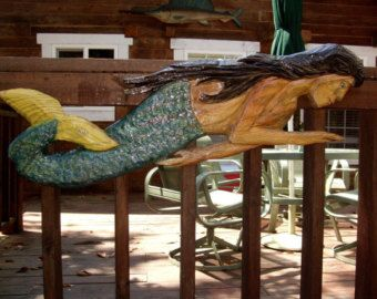 Waving Mermaid 52 inch long chainsaw carved nautical wood aquatic sculpture childeren's room whimsical carving handpainted wall mount art