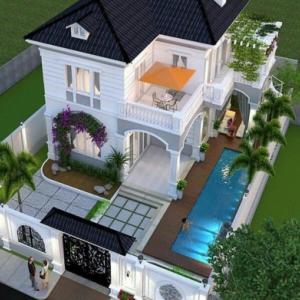 inspirasi desain rumah minimalis 2 lantai ada taman dan