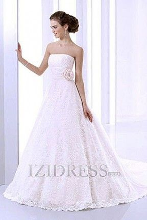 A-Line Ball Gown Strapless Lace A-Line Wedding Dresses at IZIDRESS.com
