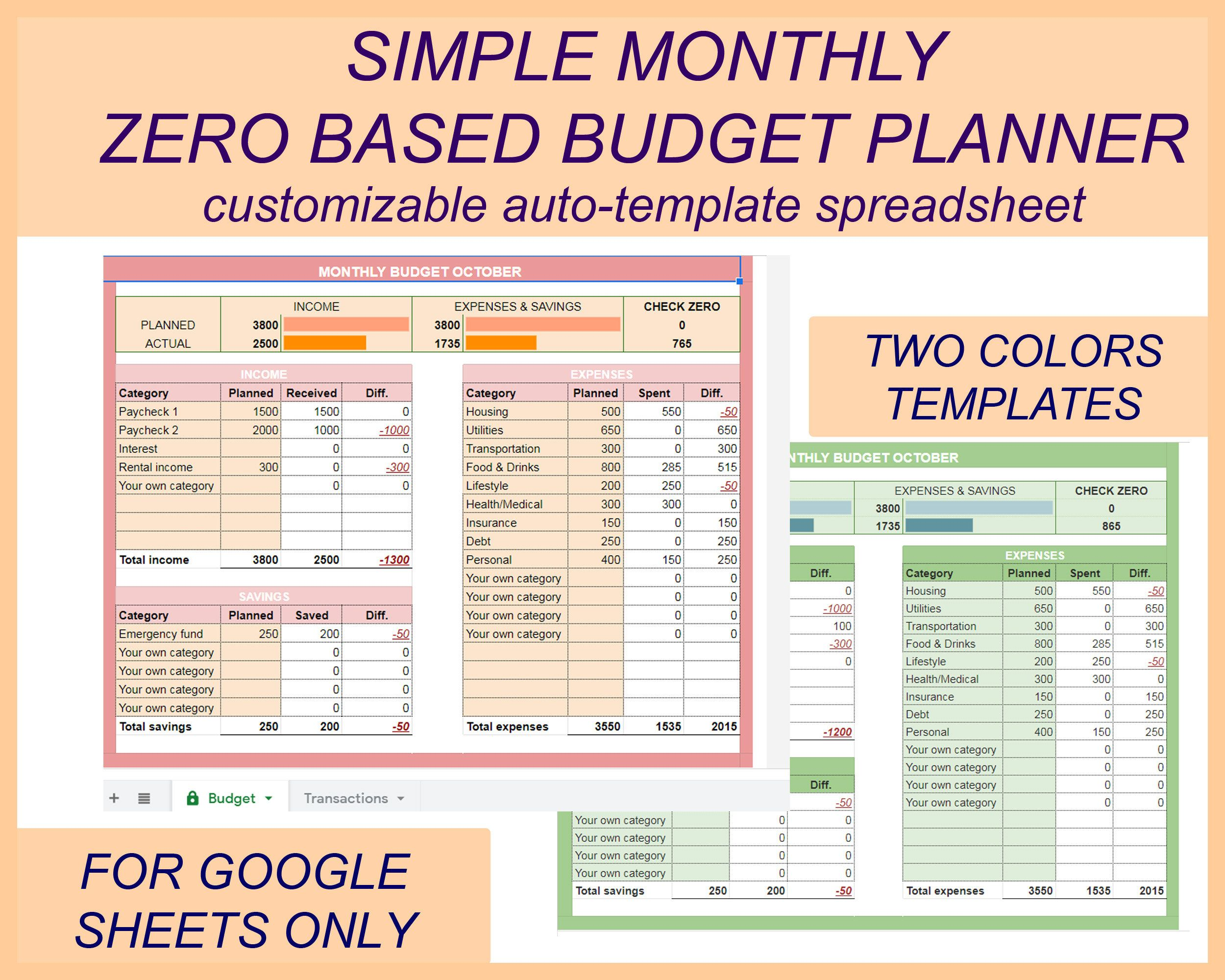 Zero Based Budget Monthly Budget Template Simple Budget Etsy Monthly Budget Template Excel Budget Template Budgeting